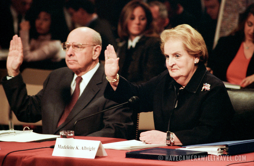 """Thomas """"Tom"""" Pickering (left), former Under Secretary of State for Political Affairs; and Madeleine Albright, Former Secretary of State, being sworn in at the 9/11 Commission's Public Hearing Number 8 on Tuesday, 23 March 2004."""