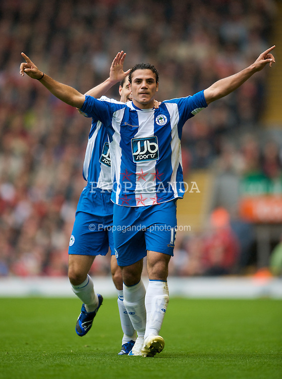 LIVERPOOL, ENGLAND - Saturday, October 18, 2008: Wigan Athletic's Amr Zaki celebrates opening the scoring against Liverpool during the Premiership match at Anfield. (Photo by David Rawcliffe/Propaganda)