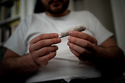 """Illustration pictures of using cannabis marijuana. A study called """"cannavid"""" conducted on the internet with the help of INSERM shows that cannabis consumption is reportedly increasing during confinement. Paris, France, May 4th, 2020 Photo by Florent Bardos/ABACAPRESS.COM"""