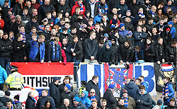 Ranger fans prior to kick-off during the Scottish Premiership match at Dens Park, Dundee.