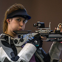 Julia Budde of Germany in action during women's 10M Air Rifle at Fangshan Shooting Hall in Nanjing 2014 Youth Olympic Games in Nanjing, China 18 August 2014. The Nanjing Youth Olympic Games 2014 runs from from 16 to 28 August 2014.