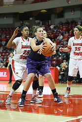 07 December 2012:  Kendall Hackney struggles for control  during an NCAA women's basketball game between the Northwestern Wildcats and the Illinois Sate Redbirds at Redbird Arena in Normal IL