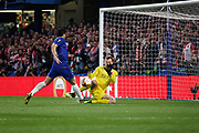 Chelsea FC forward Pedro (11) scores the opening goal 1-0 during the Europa League quarter-final, leg 2 of 2 match between Chelsea and Slavia Prague at Stamford Bridge, London, England on 18 April 2019.