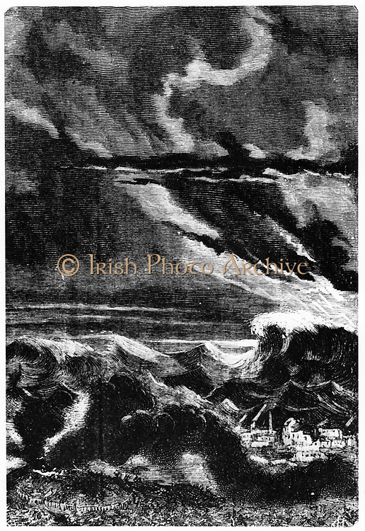 Tidal wave caused by the launch of the space capsule 'Columbiad'. From Jules Verne 'Autour de la Lune', Paris, 1865.  Wood engraving.