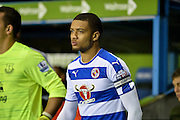 Michael Hector leads the Reading team out during the Capital One Cup match between Reading and Everton at the Madejski Stadium, Reading, England on 22 September 2015. Photo by Adam Rivers.