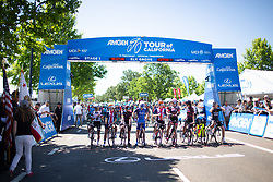 The top riders line up for the start before Stage 1 of the Amgen Tour of California - a 124 km road race, starting and finishing in Elk Grove on May 17, 2018, in California, United States. (Photo by Balint Hamvas/Velofocus.com)