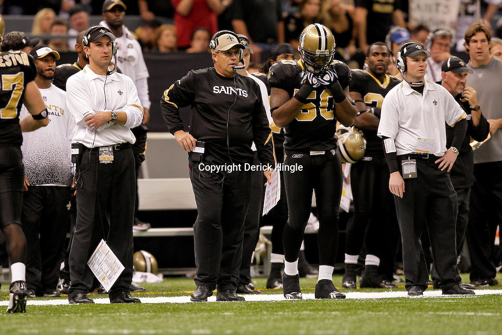 2009 November 02: New Orleans Saints defensive coordinator Gregg Williams on the sideline in the second half against the Atlanta Falcons during a 35-27 win by the Saints over the Falcons at the Louisiana Superdome in New Orleans, Louisiana.