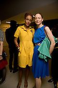 ZADIE SMITH AND DAISY HOUGHTON, The private view of exhibition 'The House of Viktor & Rolf', at The Barbican Gallery.  London.  June 17 2008. *** Local Caption *** -DO NOT ARCHIVE-© Copyright Photograph by Dafydd Jones. 248 Clapham Rd. London SW9 0PZ. Tel 0207 820 0771. www.dafjones.com.