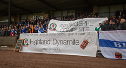 Cove fans with banners near the end. Cove Rangers have become the SPFL's newest side and ended Berwick Rangers' 68-year stay in Scotland's senior leagues by earning a League Two place. Berwick Rangers 0 v 3 Cove Rangers, League Two Play-Off Second Leg played 18/5/2019 at Berwick Rangers Stadium Shielfield Park.