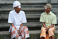 Cataract surgery patients waiting to see doctors at a mobile surgery, Bali, Indonesia.