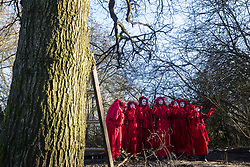 Harefield, UK. 18 January, 2020. The Red Rebel Brigade shows support for earth protectors at the Colne Valley wildlife protection camp which was today reoccupied by activists from Extinction Rebellion, Stop HS2 and Save the Colne Valley on the second day of a three-day 'Stand for the Trees' protest in the Colne Valley timed to coincide with tree felling work by HS2. Bailiffs acting for HS2 had evicted all but two activists from the camp the previous week. 108 ancient woodlands are set to be destroyed by the high-speed rail link.