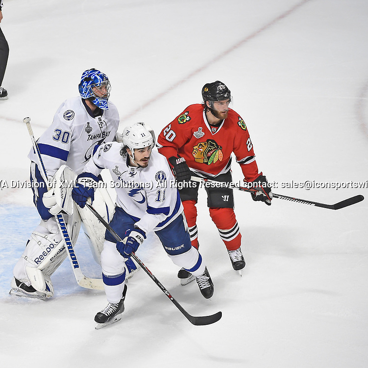 08 June 2015: Tampa Bay Lightning Goalie Ben Bishop (30) [5131], Tampa Bay Lightning Center Brian Boyle (11) [3487] and Chicago Blackhawks Left Wing Brandon Saad (20) [8995] playing in game 3 of the Stanley Cup Final at the United Center, Chicago, Il