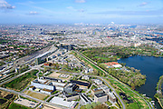 Nederland, Noord-Holland, Amsterdam, 09-04-2014; Watergraafsmeer met overzicht Amsterdam Science Park. Links de Carolina MacGillavrylaan en het NS emplacement met Kruislaan.<br /> Amsterdam Science Park in East of Amsterdam<br /> luchtfoto (toeslag op standard tarieven);<br /> aerial photo (additional fee required);<br /> copyright foto/photo Siebe Swart
