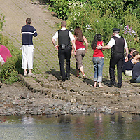 Tay River Accident...13.7.2005.<br /> Police talk to and confort teenagers at the scene.  Believed to be friends of the victim.<br /> (Please see Gordon Currie story 01738 446766).<br /> <br /> NO BYLINE TO BE USED WITH IMAGE.<br /> Picture by John Lindsay<br /> COPYRIGHT: Perthshire Picture Agency.<br /> Tel. 01738 623350 / 07775 852112.