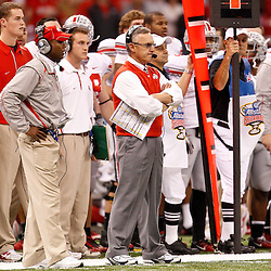 January 4, 2011; New Orleans, LA, USA;  Ohio State Buckeyes head coach Jim Tressel on the sideline during the fourth quarter of the 2011 Sugar Bowl against the Arkansas Razorbacks at the Louisiana Superdome.Ohio State defeated Arkansas 31-26. Mandatory Credit: Derick E. Hingle