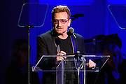 "Photos of Bono of U2 attending the ""It Always Seems Impossible Until It Is Done"" World AIDS Day event at Carnegie Hall in New York, NY on December 1, 2015. © Matthew Eisman/ Rolling Stone. All Rights Reserved"