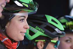 Sheyla Gutierrez is presented to the crowds at Drentse 8 2017. A 143 km road race on March 12th 2017, starting and finishing in Dwingeloo, Netherlands. (Photo by Sean Robinson/Velofocus)