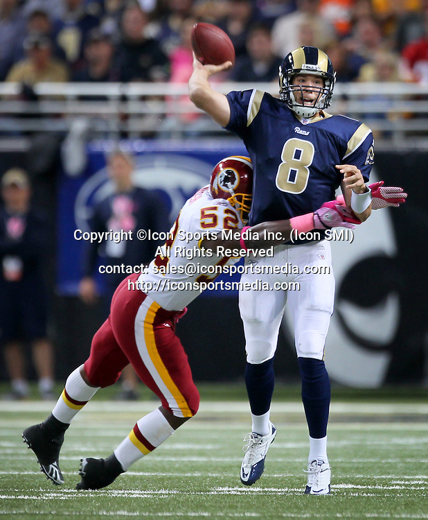 Oct. 2, 2011 - St. Louis, MO, USA - Washington Redskins' Rocky McIntosh puts a hit on St. Louis Rams' Sam Bradford in the second quarter at Edward Jones Dome in St. Louis, Missouri, Sunday, October 2, 2011