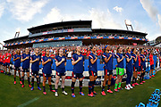FRISCO, TEXAS - MARCH 11: The United States women's soccer team sing the national anthem before the SheBelieves Cup match against the Japan at Toyota Stadium on March 11, 2020 in Frisco, Texas. The United States topped Japan, 3-1. (Photo by Alika Jenner/Getty Images)