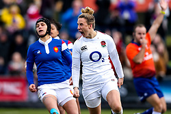 Sarah McKenna of England Women celebrates scoring a try before it is disallowed - Mandatory by-line: Robbie Stephenson/JMP - 10/02/2019 - RUGBY - Castle Park - Doncaster, England - England Women v France Women - Women's Six Nations