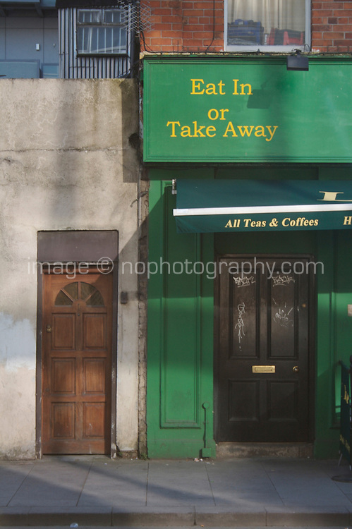 Eat in or take away sign on coffee shop in Dublin city centre Ireland