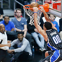 11 January 2017: Orlando Magic forward Aaron Gordon (00) dunks the ball during the LA Clippers 105-96 victory over the Orlando Magic, at the Staples Center, Los Angeles, California, USA.