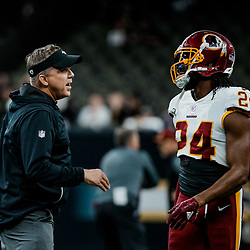 Nov 19, 2017; New Orleans, LA, USA; New Orleans Saints head coach Sean Payton talks with Washington Redskins cornerback Josh Norman (24) before a game at the Mercedes-Benz Superdome. Mandatory Credit: Derick E. Hingle-USA TODAY Sports