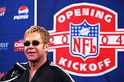 FOXBOROUGH, MA - SEPTEMBER 9:  Elton John at a press conference prior to the New England Patriots opening game against the Indianapolis Colts at Gillette Stadium on September 9, 2004 in Foxborough, Massachusetts. The Patriots defeated the Colts 27-24. ©Paul Anthony Spinelli *** Local Caption *** Elton John