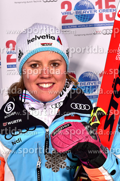 12.02.2015, Solaris Placa, Vail, USA, FIS Weltmeisterschaften Ski Alpin, Vail Beaver Creek 2015, Damen, Riesentorlauf, Medaillen, im Bild Viktoria Rebensburg (GER, 2. Platz) // 2nd placed Viktoria Rebensburg of Germany poses with her Medal after the Ladies Giant Slalom of FIS Ski World Championships 2015 at the Solaris Placa in Vail, United States on 2015/02/12. EXPA Pictures © 2015, PhotoCredit: EXPA/ Vail 2015/ Francis Bompard