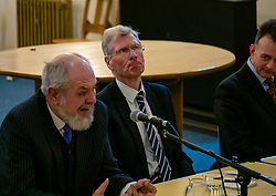 North Berwick, East Lothian, Scotland, United Kingdom, 28 November 2019. General Election: First hustings for the 5 candidates seeking election as MP for East Lothian with questions from the audience ranging from Defence to Honesty. Pictured (L to R): David Sisson, UKIP candidate, former Justice Secretary Kenny MacAskill, Scottish National Party (SNP) candidate, Keith Stewart, QC & chair of the event.  Sally Anderson   EdinburghElitemedia.co.uk