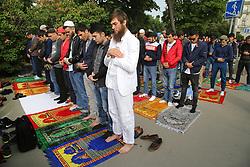 June 15, 2018 - Saint Petersburg, Russia - June 15, 2018. - Russia, Saint Petersburg. - Muslims during the Eid al-Fitr holiday prayer outside the Saint Petersburg Mosque. (Credit Image: © Russian Look via ZUMA Wire)