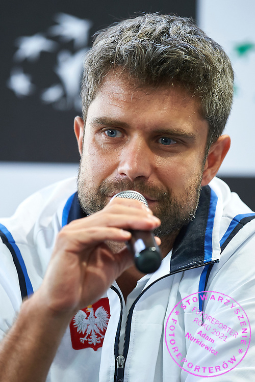 Tomasz Wiktorowski - captain national team of Poland while press conference during the Fed Cup / World Group Play Off tennis match between Poland and Switzerland on April 18, 2015 in Zielona Gora, Poland<br /> Poland, Zielona Gora, April 18, 2015<br /> <br /> Picture also available in RAW (NEF) or TIFF format on special request.<br /> <br /> For editorial use only. Any commercial or promotional use requires permission.<br /> <br /> Adam Nurkiewicz declares that he has no rights to the image of people at the photographs of his authorship.<br /> <br /> Mandatory credit:<br /> Photo by &copy; Adam Nurkiewicz / Mediasport