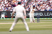 Alistair Cook plays a cover drive during day three of the Australia v England fourth test at the Melbourne Cricket Ground, Melbourne, Australia on 28 December 2017. Photo by Mark  Witte.