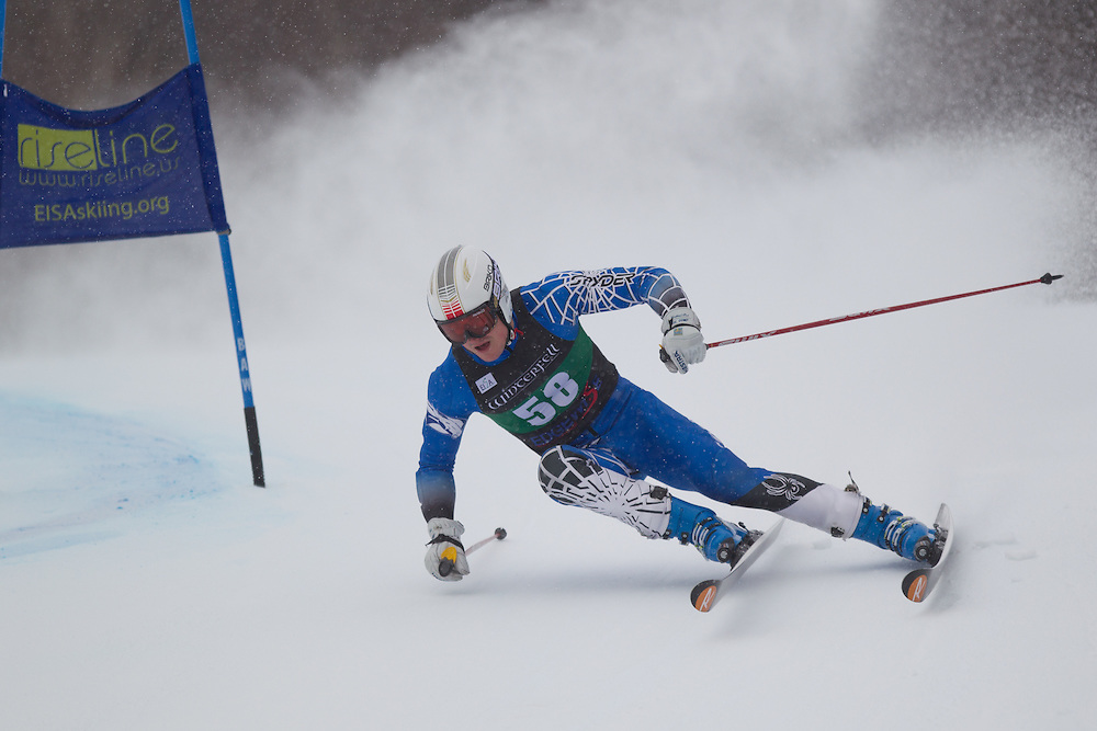 Matthew McKenna, of Colby College, skis during the first run of the men's giant slalom of the University of Vermont Carnival on January 10, 2014 in Stowe, VT. (Dustin Satloff/EISA)