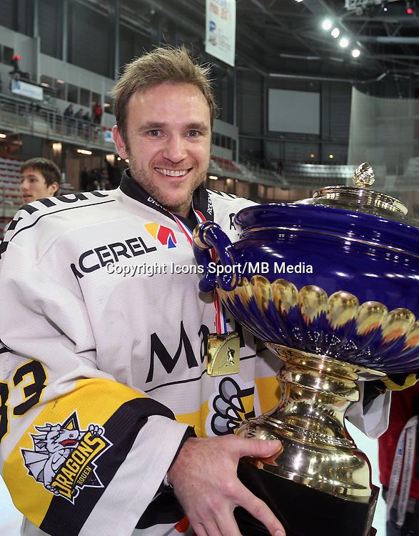Victoire Rouen / Joie Fabrice Lhenry - 25.01.2015 - Rouen / Amiens - Finale Coupe de France 2015 de Hockey sur glace<br />Photo : Xavier Laine / Icon Sport