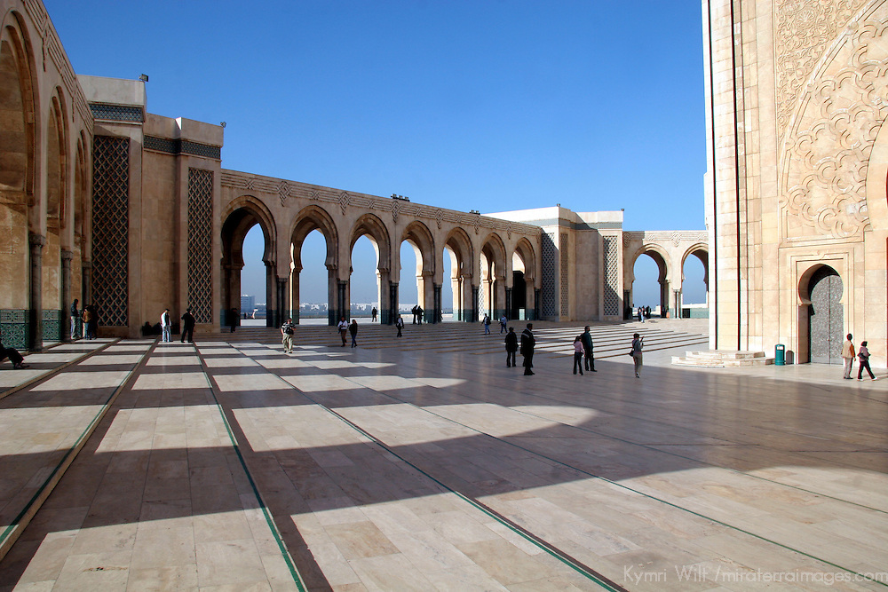 North Africa, Morocco, Casablanca. Hassan II Mosque courtyard.