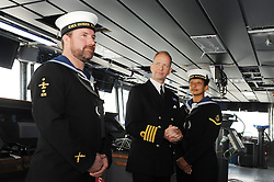 HMS Queen Elizabeth, Rosyth,24-5-2016        <br /> <br /> Leading Airman Thomas Hardcastle, Capt Kid and Leading Physical Trainer Michelle Mattinson<br /> <br /> (c) David Wardle | Edinburgh Elite media