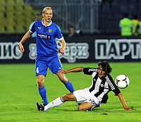 30.08.2012 <br /> FK Partizan - Tromsø IL<br />  Europa League play off<br />  men's football<br /> Ruben Kristiansen TIL and Lazar Markovic (r) FK Partizan