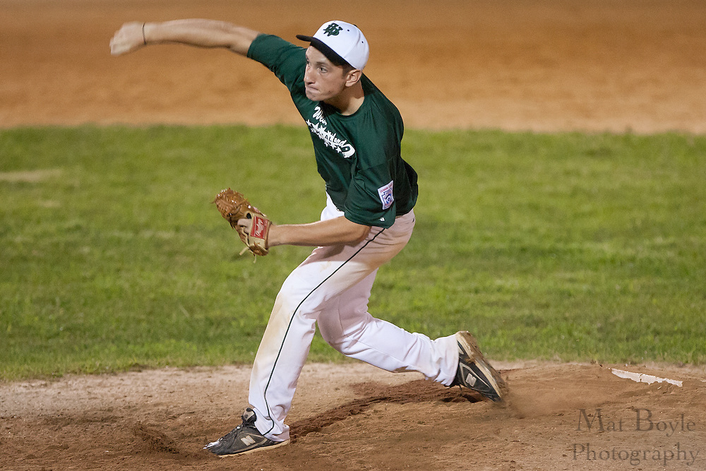 West Deptford's Danny Riley pitches as a relief pitcher in the 7th inning during the opening round of the Mid-Atlantic Senior League regional tournament held in West Deptford on Friday, August 5.