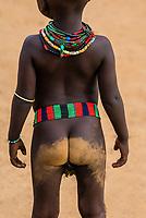Dirty bottom of a Hamer tribe girl toddler, Omo Valley, Ethiopia.