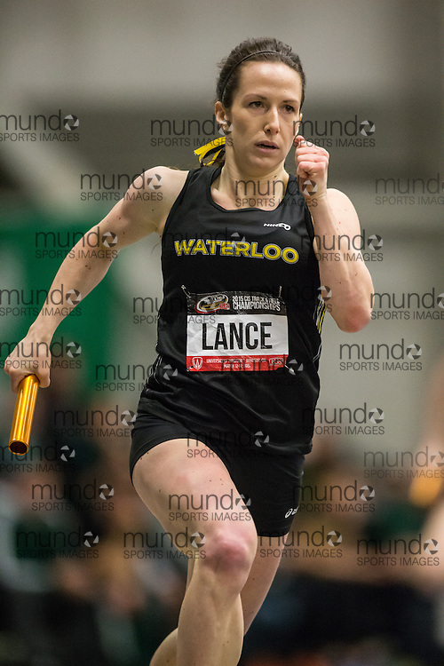 Windsor, Ontario ---2015-03-14--- Naomi Lance of University of Waterloo competes in the 4X200m relay final at the 2015 CIS Track and Field Championships in Windsor, Ontario, March 14, 2015.<br /> GEOFF ROBINS/ Mundo Sport Images
