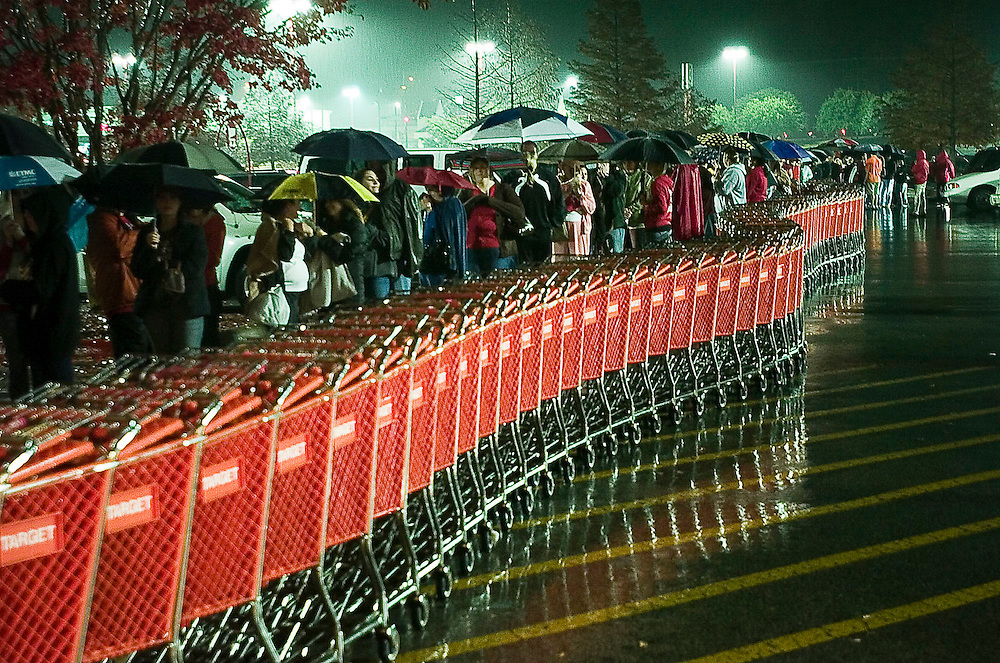 Tyler shoppers wait in line at Target for Black Friday sales on Friday, November 28, 2008. Some of the popular purchases this year were the Nintendo Wii, Guitar Hero, plasma televisions, iPods and computers.  Photo By Tom Turner