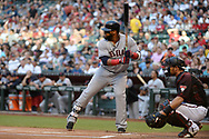 PHOENIX, AZ - APRIL 08:  Carlos Santana #41 of the Cleveland Indians stands at bat against the Arizona Diamondbacks at Chase Field on April 8, 2017 in Phoenix, Arizona. The Arizona Diamondbacks won 11-2.  (Photo by Jennifer Stewart/Getty Images)