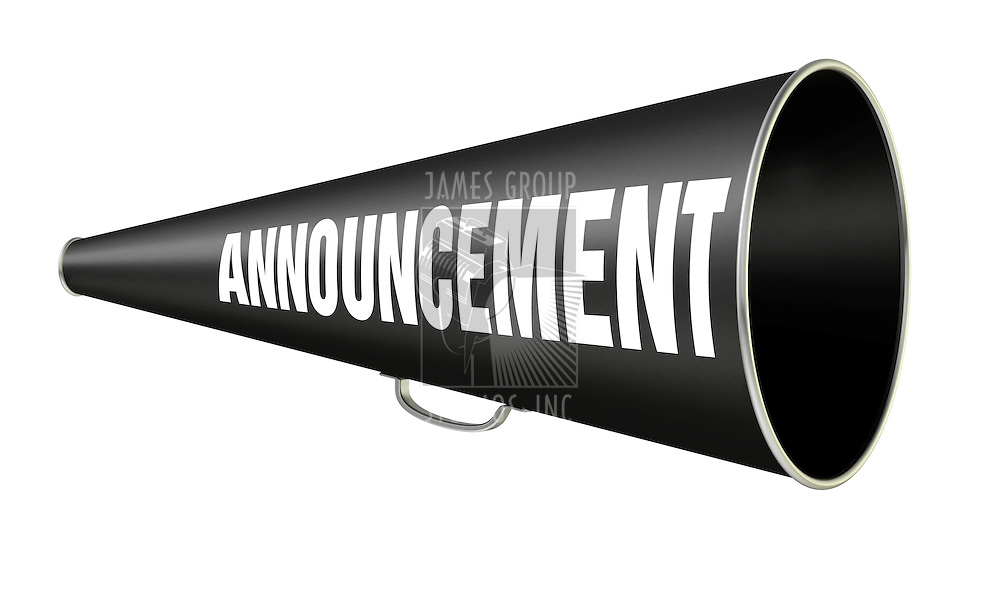 "black vintage megaphone with the word ""Announcement"" on the side isolated on white background"