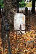 Tombstone and iron fence in the Columbia Cemetery, Columbia State Historic Park, Gold Country, California
