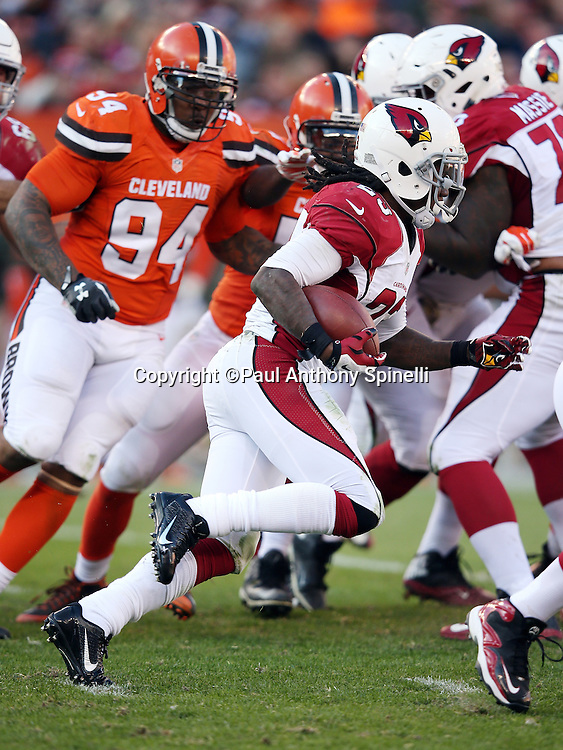 Arizona Cardinals running back Chris Johnson (23) runs the ball during the 2015 week 8 regular season NFL football game against the Cleveland Browns on Sunday, Nov. 1, 2015 in Cleveland. The Cardinals won the game 34-20. (©Paul Anthony Spinelli)