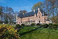 The castle garden of the Groot-Bijgaarden is a popular tourist destination during springtime in Belgium.