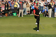 Tiger Woods celebrates his victory at the 2011 Chevron World Challenge at the Sherwood Country Club in Thousand Oaks, Calif., on Sunday, Dec. 4, 2011.