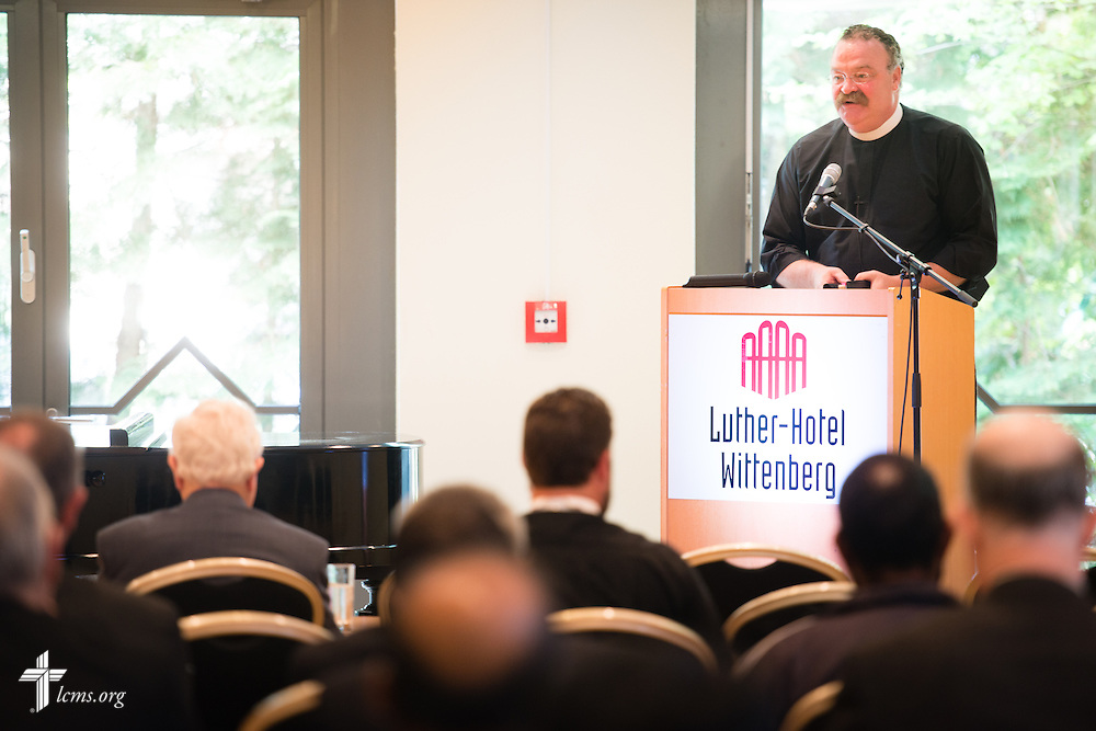 The Rev. Dr. Matthew C. Harrison, president of The Lutheran Church-Missouri Synod, addresses church leaders Tuesday, May 5, 2015, at the International Conference on Confessional Leadership in the 21st Century in Wittenberg, Germany. LCMS Communications/Erik M. Lunsford