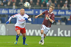 30.10.2011,  Imtech Arena, Hamburg, GER, 1. FBL, Hamburger SV (GER) vs 1.FC Kaiserslautern, im Bild Goekhan Toere (Gˆkhan Tˆre Hamburg #17) versucht sich gegen Oliver Kirch (Kaiserslautern #07) durchzusetzen// during the match at ImtechArena 2011/10/30. EXPA Pictures © 2011, PhotoCredit: EXPA/ nph/ Anja Witke +++++ ATTENTION - OUT OF GERMANY/(GER), CROATIA/(CRO) +++++